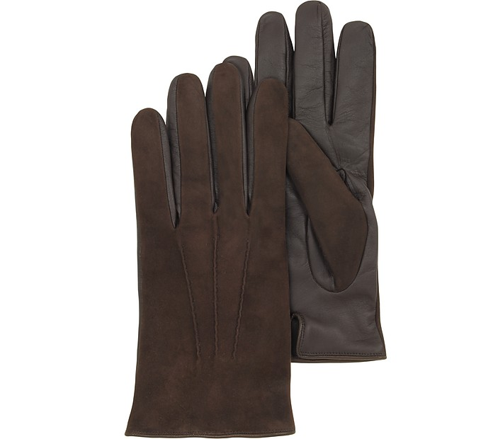 Brown Touch Screen Leather Men's Gloves - Forzieri / フォルツィエリ