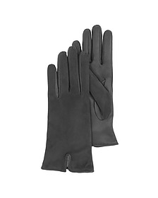 Black Touch Screen Leather Women's Gloves - Forzieri
