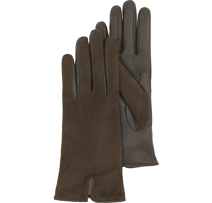 Brown Touch Screen Leather Women's Gloves - Forzieri / フォルツィエリ