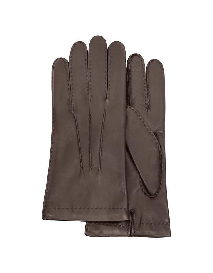 Men's Cashmere Lined Dark Brown Italian Leather Gloves - Forzieri