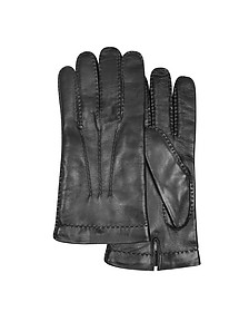 Men's Cashmere Lined Black Italian Leather Gloves - Forzieri