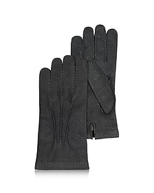 Men's Cashmere Lined Black Italian Calf Leather Gloves - Forzieri