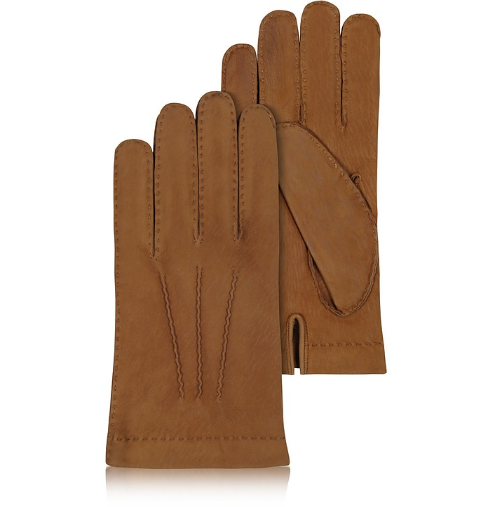 Men's Cashmere Lined Brown Italian Calf Leather Gloves - Forzieri