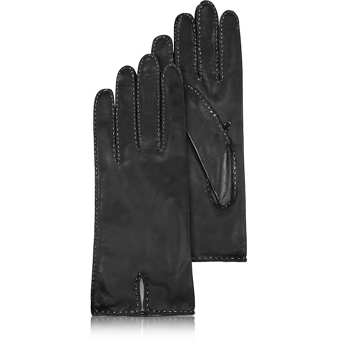 Women's Stitched Silk Lined Black Italian Leather Gloves - Forzieri