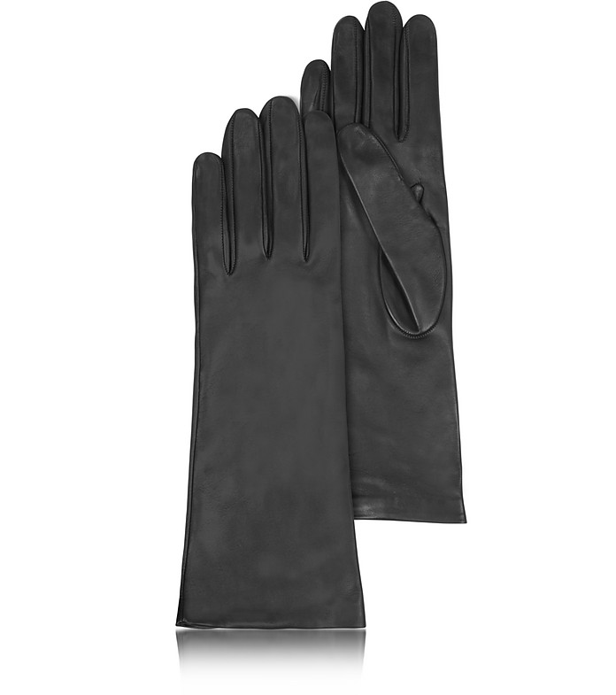 Women's Silk Lined Black Italian Leather Long Gloves - Forzieri