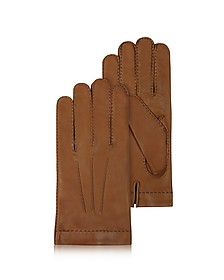 Men's Cashmere Lined Brown Italian Leather Gloves - Forzieri