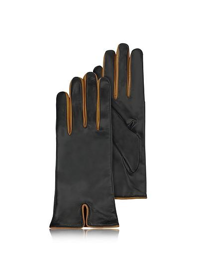 Damenhandschuhe aus italienischem Leder in Cognac & Schwarz - Forzieri
