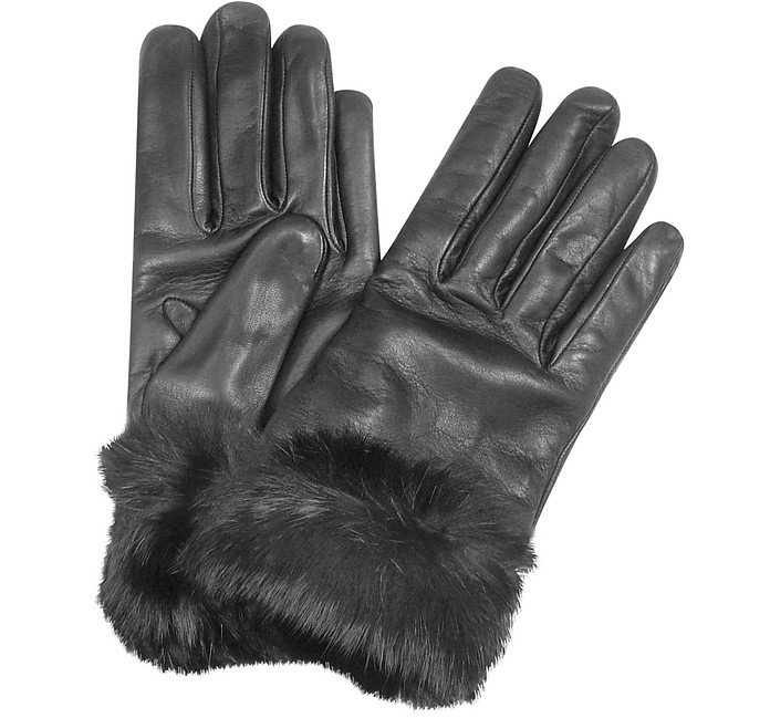 Black Cashmere Lined Italian Leather Gloves with Fur - Forzieri