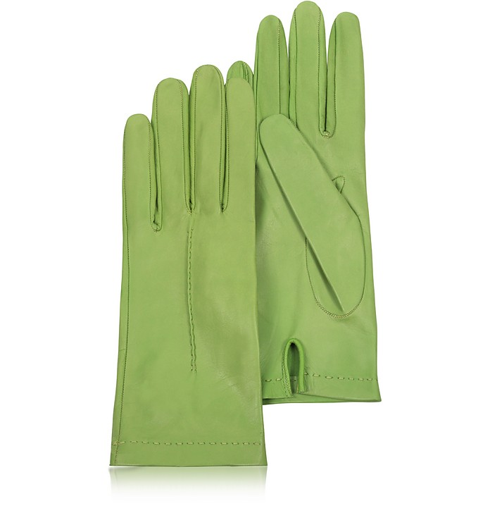 Women's Pistachio Unlined Italian Leather Gloves - Forzieri