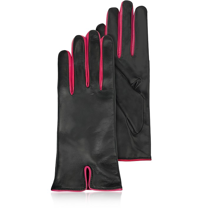 Black & Fuchsia Cashmere Lined Leather Ladies' Gloves - Forzieri