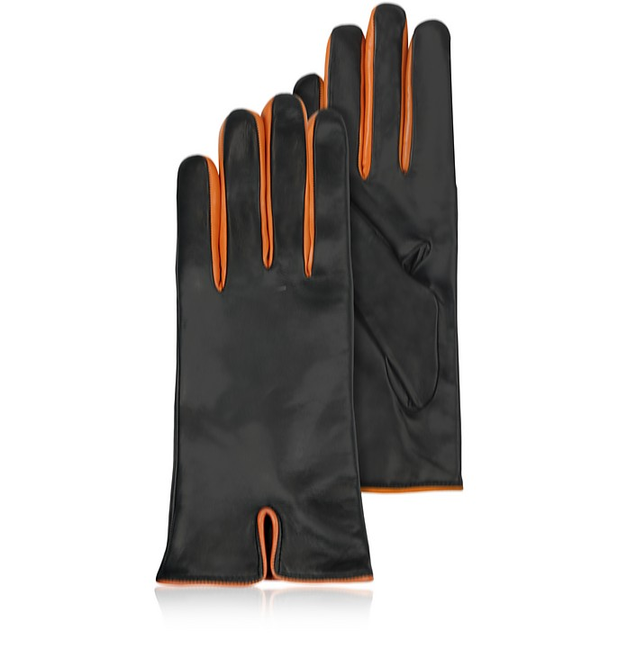 Black & Orange Cashmere Lined Leather Ladies' Gloves - Forzieri