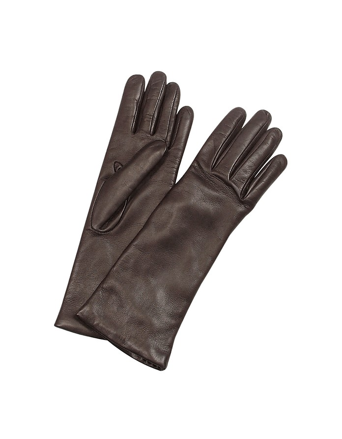 Women's Cashmere Lined Dark Brown Italian Leather Long Gloves - Forzieri