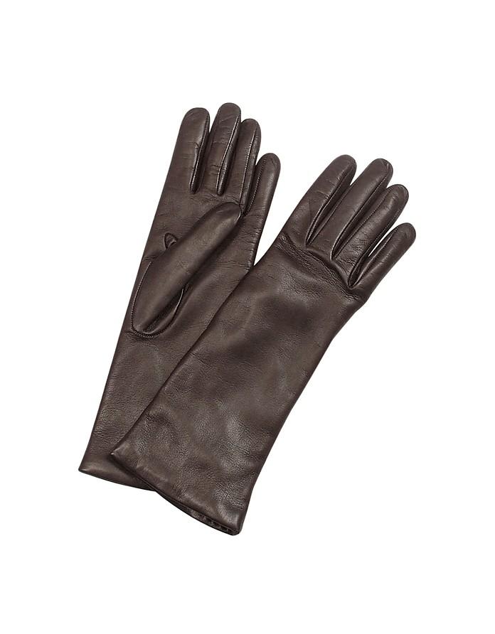 Итальянские Длинные Темно-коричневые Кожаные Женские Перчатки с Подкладкой из Кашемира - Forzieri