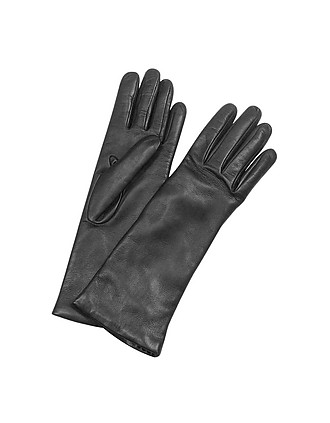 4d1703d75f88 Forzieri. Women s Cashmere Lined Black Italian Leather Long Gloves…