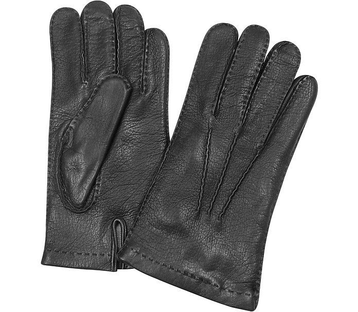 Men's Cashmere Lined Black Italian Deer Leather Gloves - Forzieri
