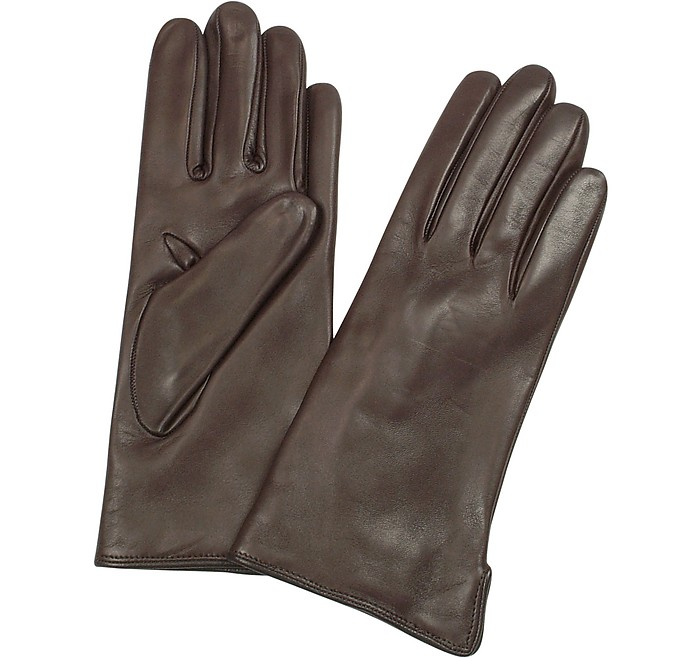 5e2f94b7a8ff0 Forzieri Women's Dark Brown Cashmere Lined Italian Leather Gloves S ...
