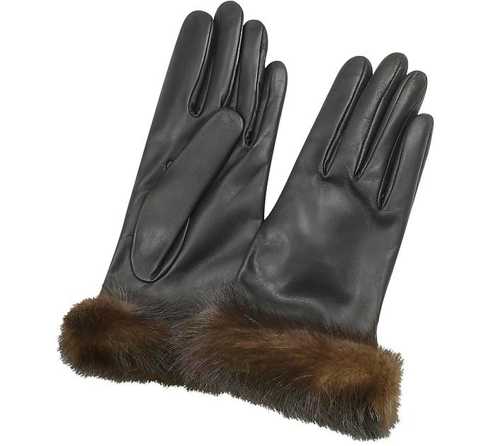 Damenhandschuhe aus italienischem Nappaleder in schwarz mit Pelzmanschetten - Forzieri