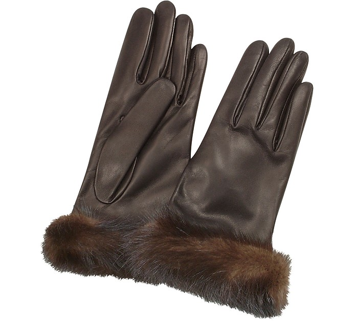 Women's Dark Brown Italian Nappa Leather Gloves w/Mink Fur - Forzieri