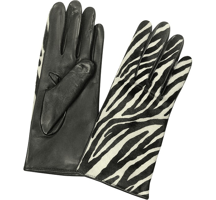Women's Zebra Pony Hair and Italian Nappa Leather Gloves - Forzieri