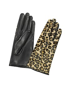 Women's Leopard Pony Hair and Italian Nappa Leather Gloves - Forzieri