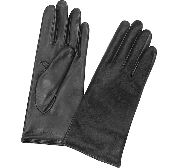 Women's Black Pony Hair and Italian Nappa Leather Gloves - Forzieri