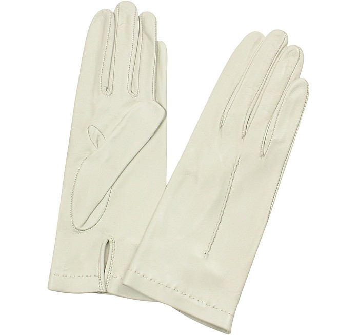 Women's Ivory Unlined Italian Leather Gloves  - Forzieri