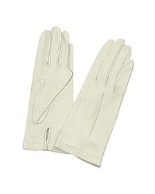 Women's Ivory Unlined Italian Leather Gloves  - Forzieri