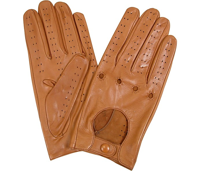 Men's Tan Italian Leather Driving Gloves - Forzieri