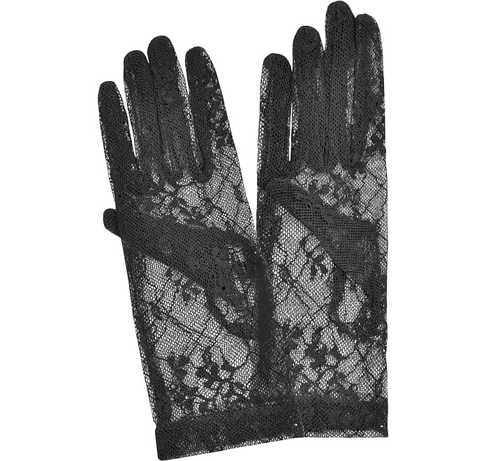 Women's Black Flowered Lace Gloves - Forzieri