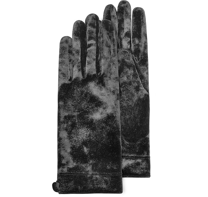 Women's Black Chenille Gloves - Forzieri