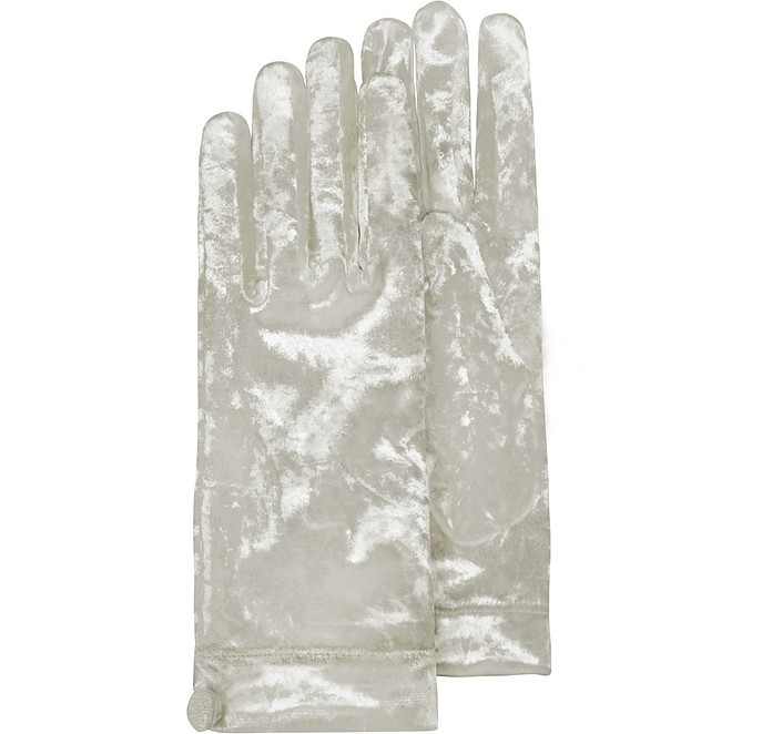 Women's White Chenille Gloves - Forzieri
