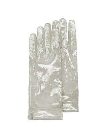 Women's White Chenille Gloves - Forzieri