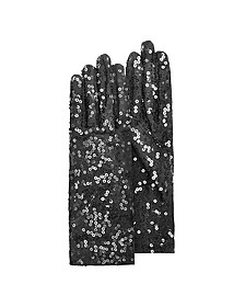 Women's Black Sequin Gloves