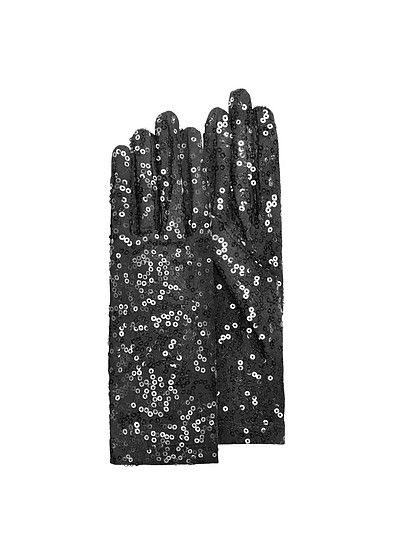 Women's Black Sequin Gloves - Forzieri