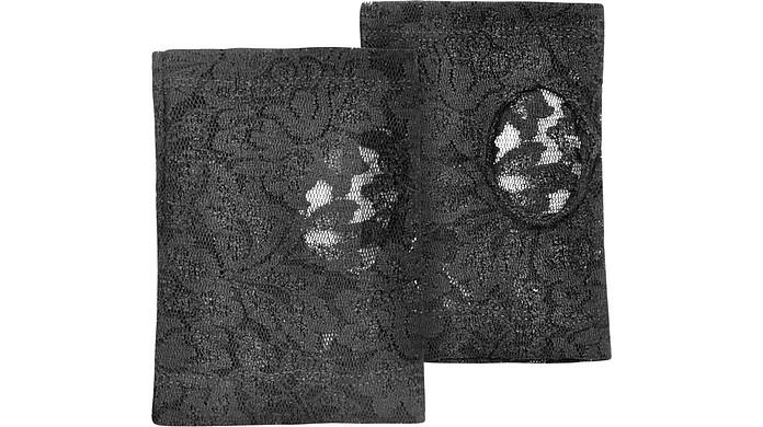 Women's Black Lace Fingerless Gloves - Forzieri