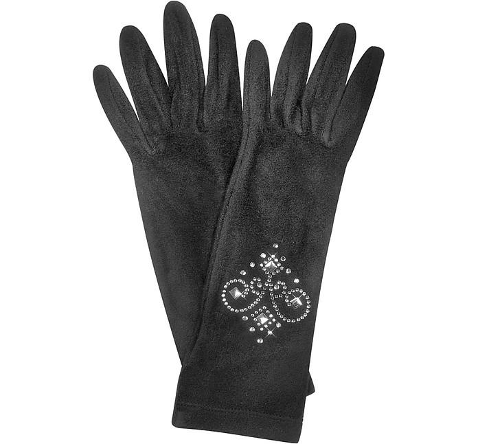 Черные Перчатки с Камнями Горного Хрусталя - Forzieri