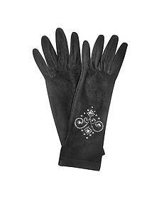 Rhinestone Black Gloves - Forzieri