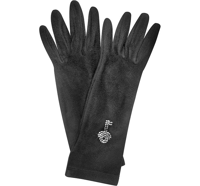 Rhinestone Black Gloves - Forzieri