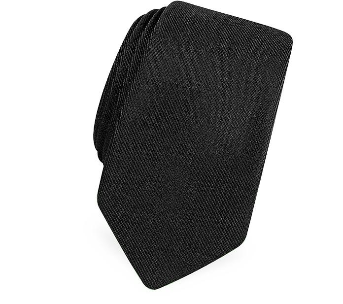 Corbata Estrecha Negra Seda tipo Sarga - Forzieri
