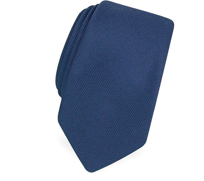 Solid Blue Twill Silk Narrow Tie - Forzieri
