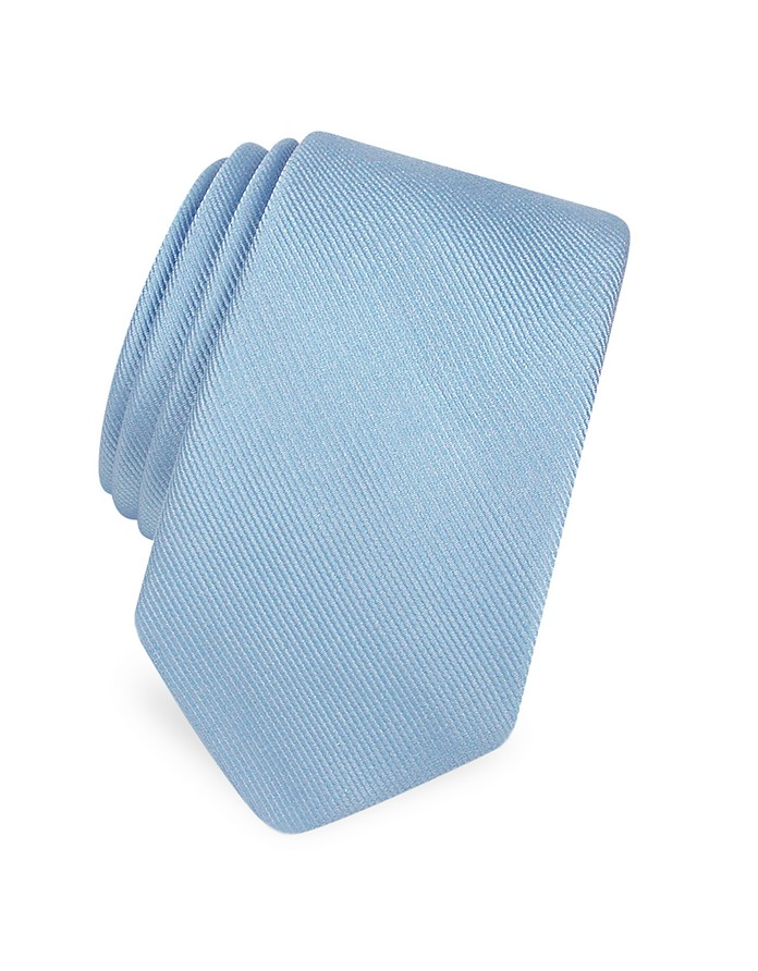 Solid Twill Silk Narrow Tie  - Forzieri