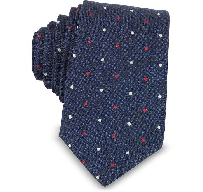 Polka-dots Woven Silk Narrow Tie - Forzieri