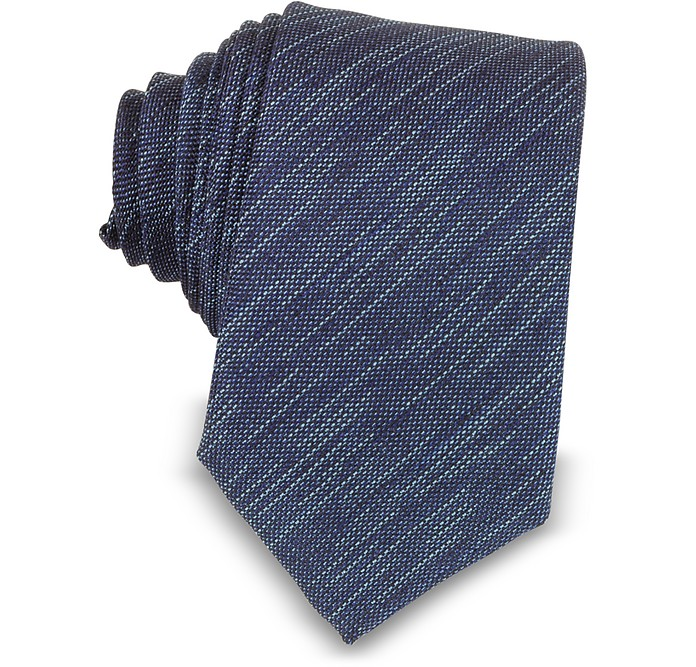Two-Tone Woven Silk Narrow Tie - Forzieri