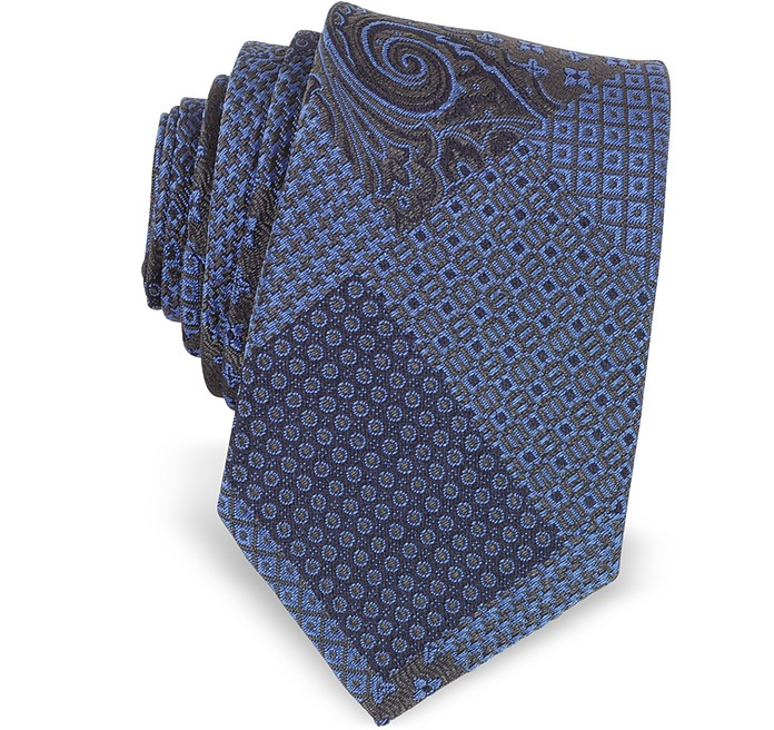 Patchwork Woven Silk Narrow Tie - Forzieri