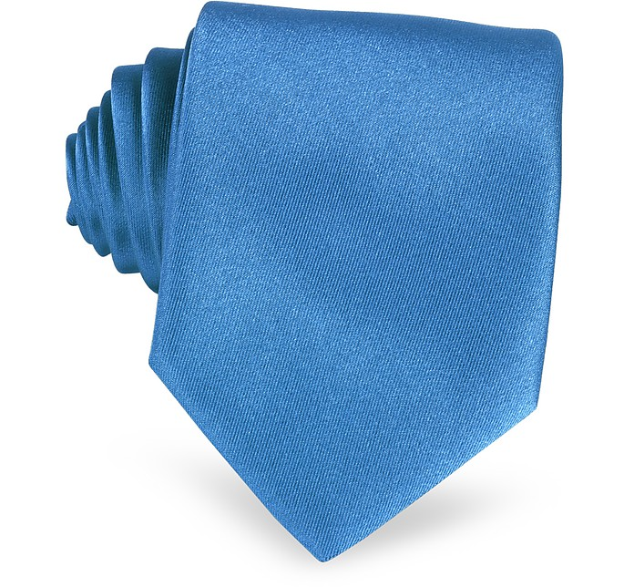 Solid Blue Extra-Long Tie - Forzieri