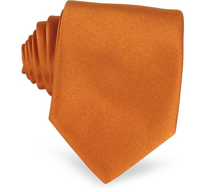 Einfarbige extra-lange Krawatte in Kupferrot - Forzieri