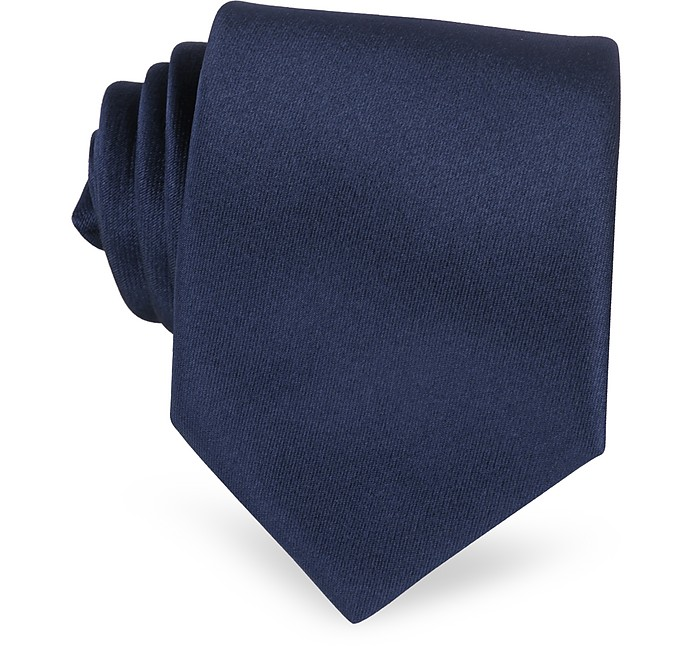 Einfarbige extra-lange Krawatte in Dunkelblau - Forzieri