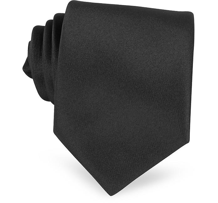 Einfarbige extra-lange Krawatte in Schwarz - Forzieri