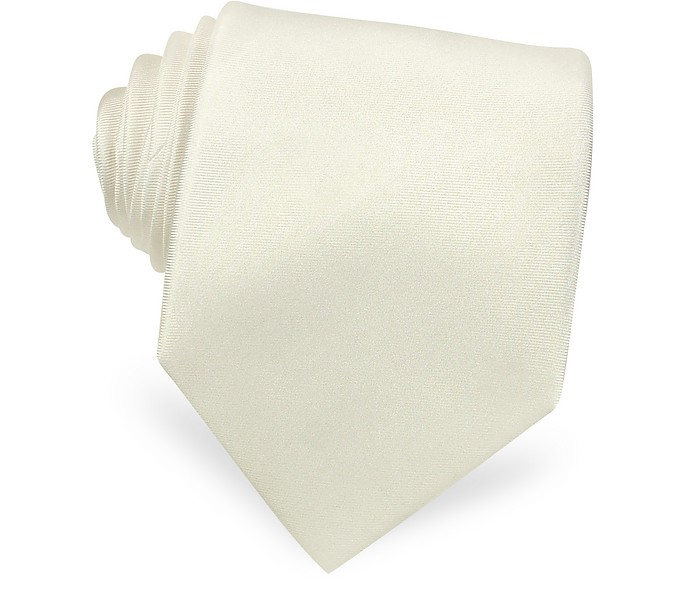 Solid White Extra-Long Pure Silk Tie - Forzieri