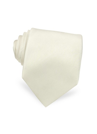 Cravate extra-longue en soie blanche - Forzieri